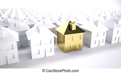 gold house - Concept of the purfect house choice or property...