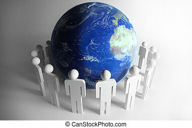 People around planet - people stood around to world global...
