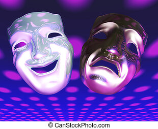 Theater Masks - Digital Illustration of Theater Masks