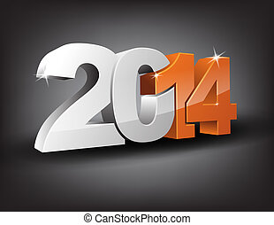 Happy new year 2014 in 3D with orange 14 and grey 20