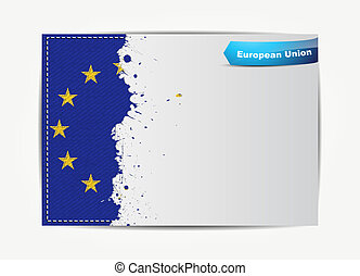 Stitched European Union flag with grunge paper frame for...