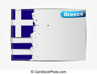 Stitched Greece flag with grunge paper frame for your text....