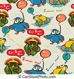 Seamless texture with funny birds. Vector illustration EPS8