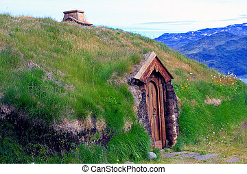 Viking Longhouse in Brattahlid - Reconstruction of a viking...
