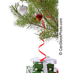 gift boxes under Christmas tree - green gift boxes under...