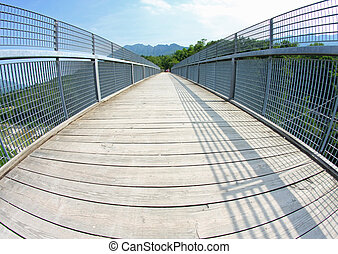 long bridge with a wooden walkway and handrail made of...