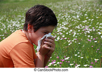 Alérgico, niño, polen, flores, pañuelo,...