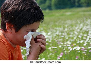 criança, alergia, pólen, enquanto, tu, sopro,...