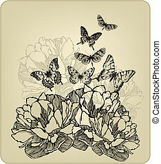 Vintage background with flowers and flying butterflies, hand-drawing. Vector illustration.