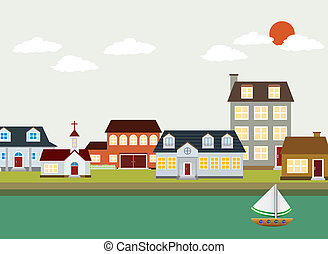 cartoon town - Vector Landscape