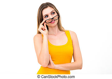 woman in glasses reflects - pretty woman in glasses reflects...