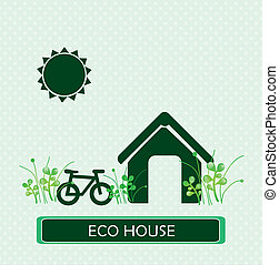 eco house over dotted background vector illustration