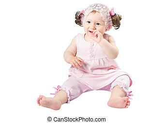 ピンク, わずかしか, 愛らしい, 隔離された, 背景, 子供, 女の子, 服, 白