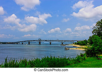 The York river and beach in Yorktown Virginia overlooking...