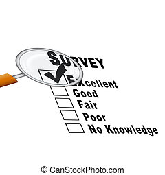 Survey Form - Illustration - Survey form with magnify glass...