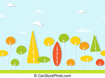colorful trees seamless vector pattern - trees and shrubs...