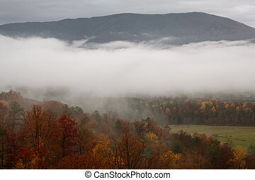 Smoky Mountains in the fall in Tennessee.