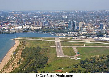 Toronto City centre airport - aerial view of Billy Bishop...