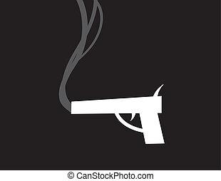 Gun Smoke Silhouette - Gun silhouette smoking after being...
