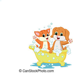 Cute cat and dog cartoon bathing ti - Vector illustration of...