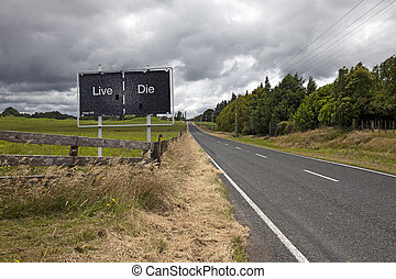 New Zealand - Left trafic on highway sign warning