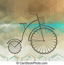 Retro Bicycle on a Color Background Made of Triangles and...