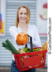 Woman holding piggy bank and shopping basket - Image of a...