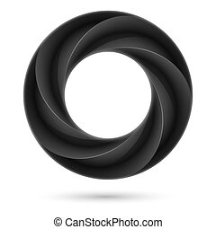 Black spiral ring Illustration on white background