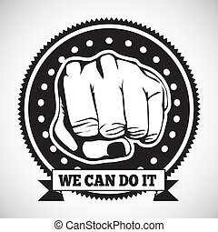 we can do it seal over gray background vector illustration