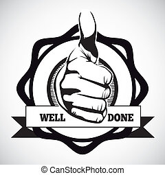 well done seal over gray background vector illustration