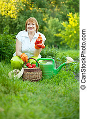 woman in vegetables garden