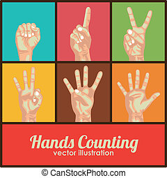 hands counting over colorful background vector illustration