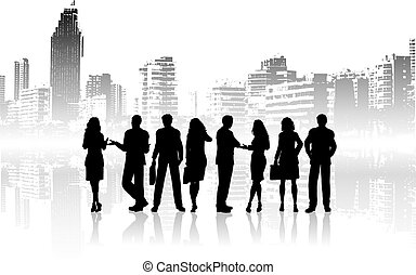 City people - Silhouettes of business people against grunge...