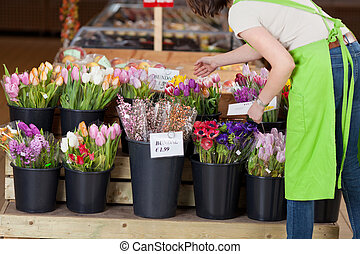 Female Florist With Various Flowers In Shop - Midsection of...