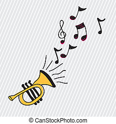 trumpet design over white background vector illustration