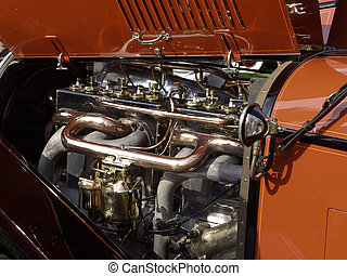 Old Timer - Close-up view of engine of Simplex antique...
