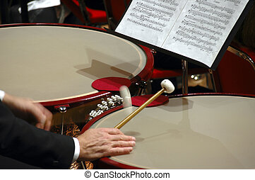 Drum Roll - Close-up of timpani in orchestral performance,...