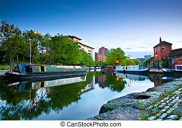 Castlefield Manchester canal - Boats moored at Castlefield...
