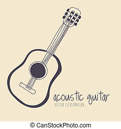 acoustic guitar over yellow background vector illustration