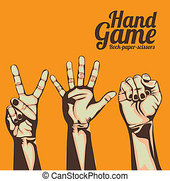 hand game over orange background vector illustration