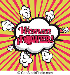 woman power comics over grunge background vector...