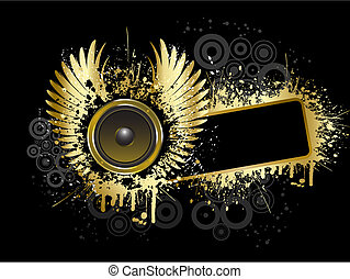 Grunge music background in gold and black