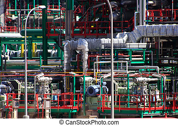 pipes thousand colors in a modern oil refinery