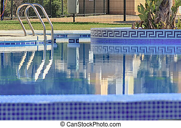 nice colors and decoration pool blue with reflections