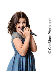 happy child singing with microphone on white background