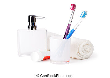 bathroom accessories on white background