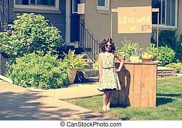 retro girl lemonade stand - retro girl wearing sunglasses...
