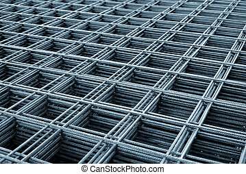 Reinforcing steel mesh, close up image of construction...