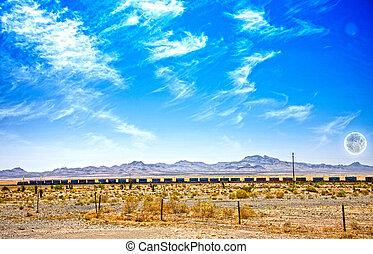 train,  désert