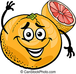 red grapefruit fruit cartoon illustration - Cartoon...
